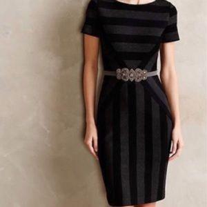 Anthropologie Maeve Black&Grey Pencil Dress PETITE